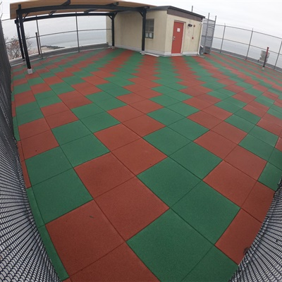Rooftop Recreational Area in High-Wind Zone