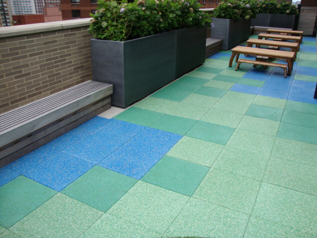 Nice Rooftop Playground Tiles Using Custom Blended TPV Material On Top