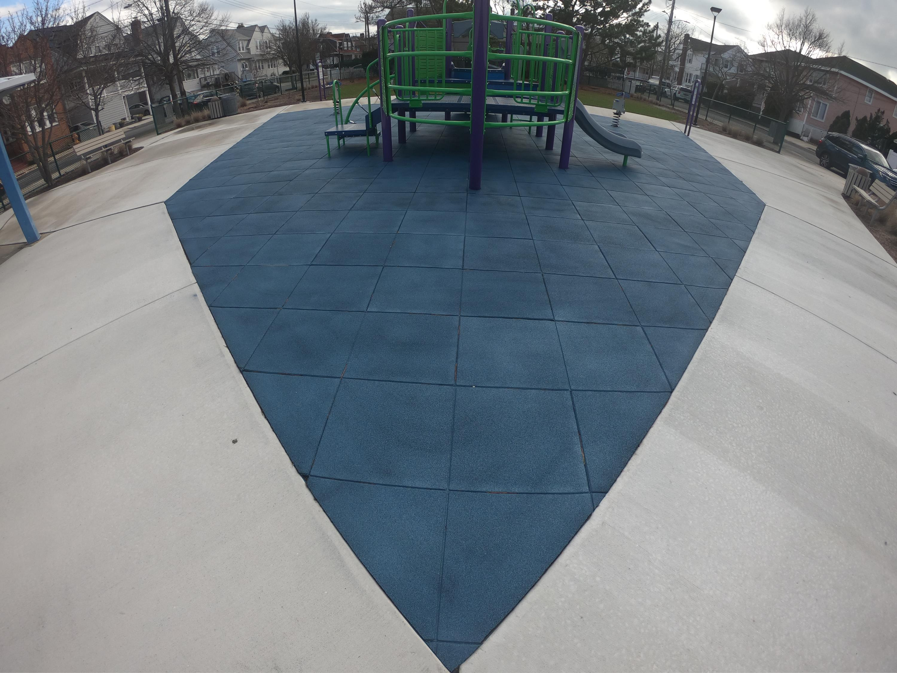 "2.5"" thick Play-Land series with custom made blue pigmented play tiles"