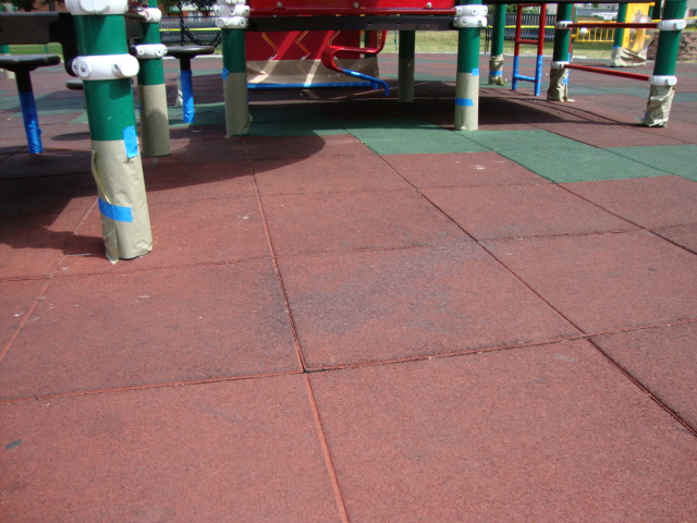 UNITY SURFACING = Showing the prep needed before painting our playground surfacing