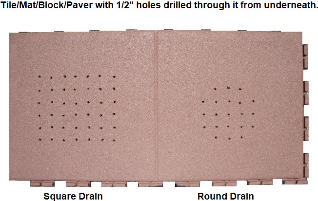 UNITY Showing Rubber Tile-Mat-Block-Paver With Holes Drilled Through It For Better Drainage