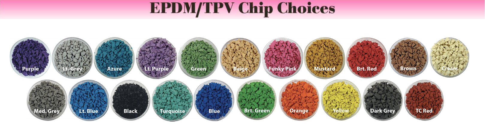 UNITY Showing the TPV Color Choices for 2020