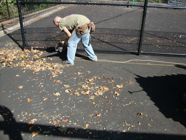 Ground preparation for playground tiles to be installed
