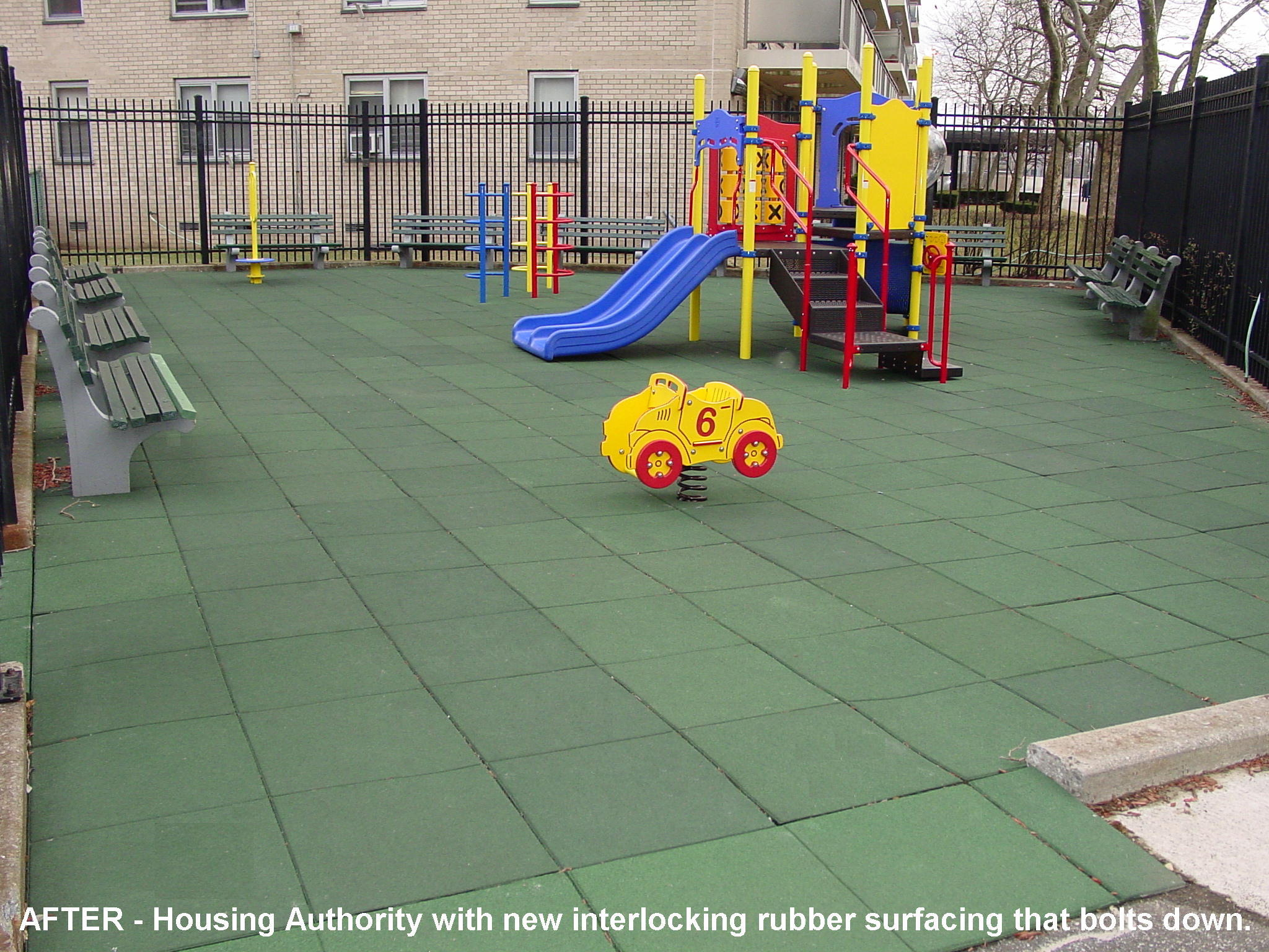 Unity daycare centers safety surfacing daycare flooring install a colorful playground unit in conjuction with green for the color of choice for the safety tiles to give children and adults the atmosphere they dailygadgetfo Images