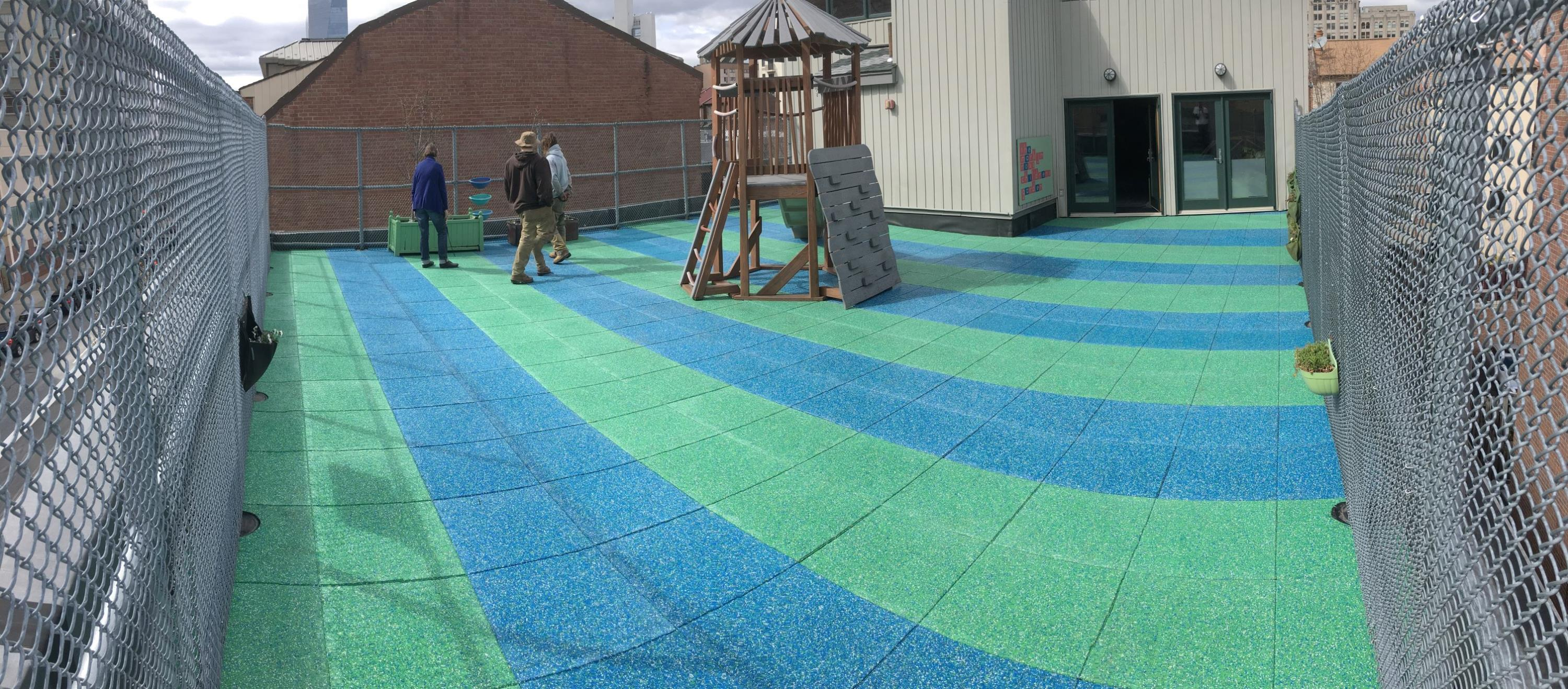 Rooftop Playground in Philly using custom blended TPV top pavers