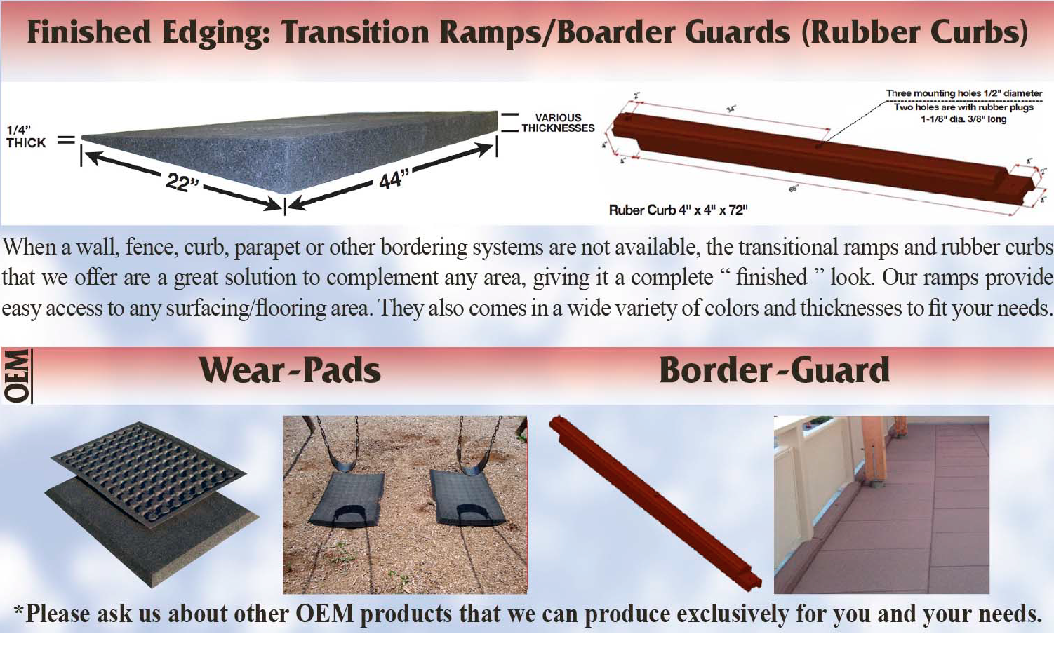 UNITY'S = OEM Product Info on Ramps Curbs Wearpads and Boarders