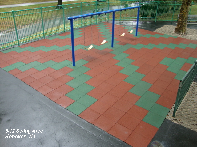 "Soft-Land Rubber Surfacing Project Using ""X"" Pattern Design"