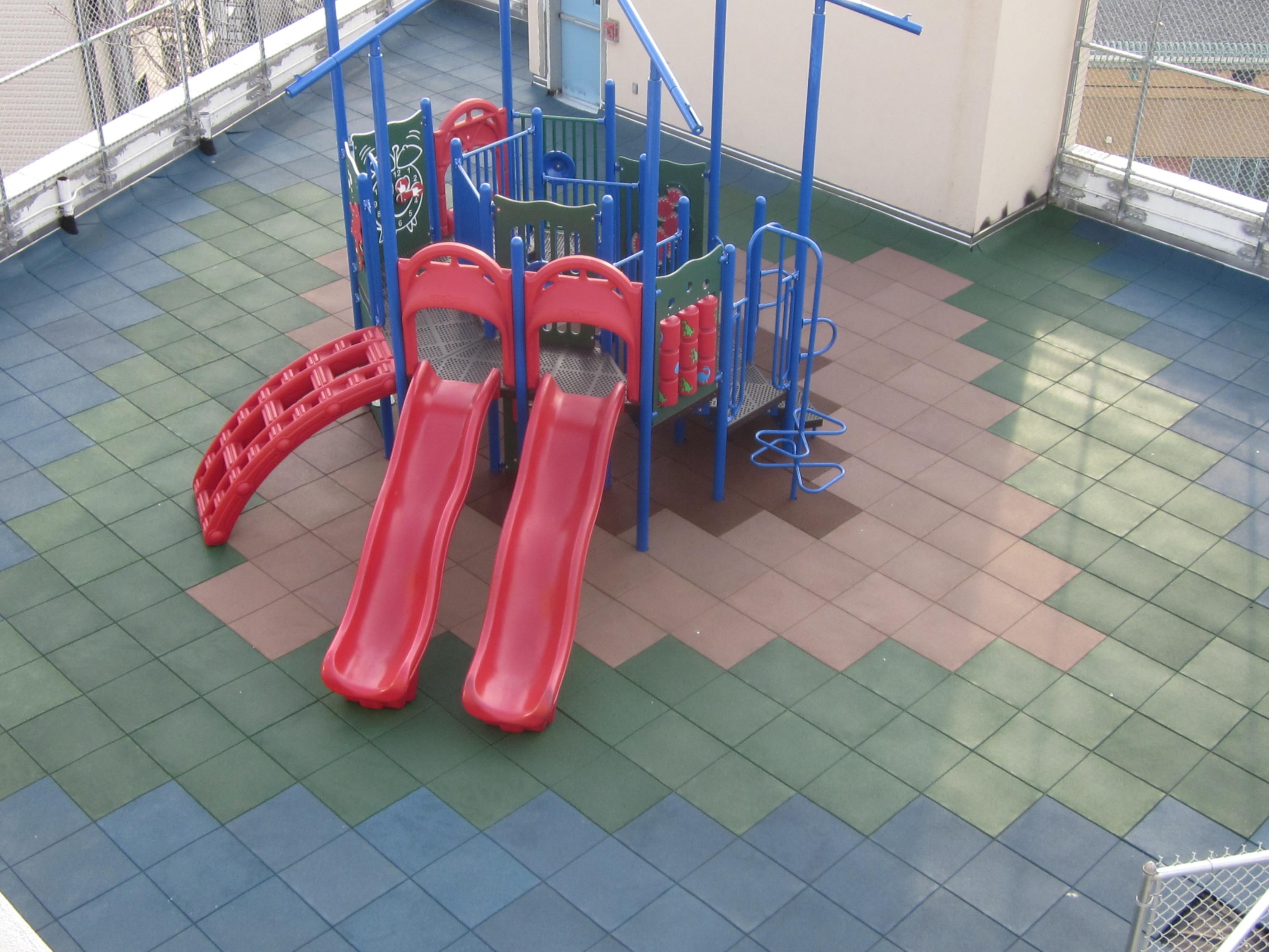 Rooftop Playground with Equipment On Top in Diamond Shapes