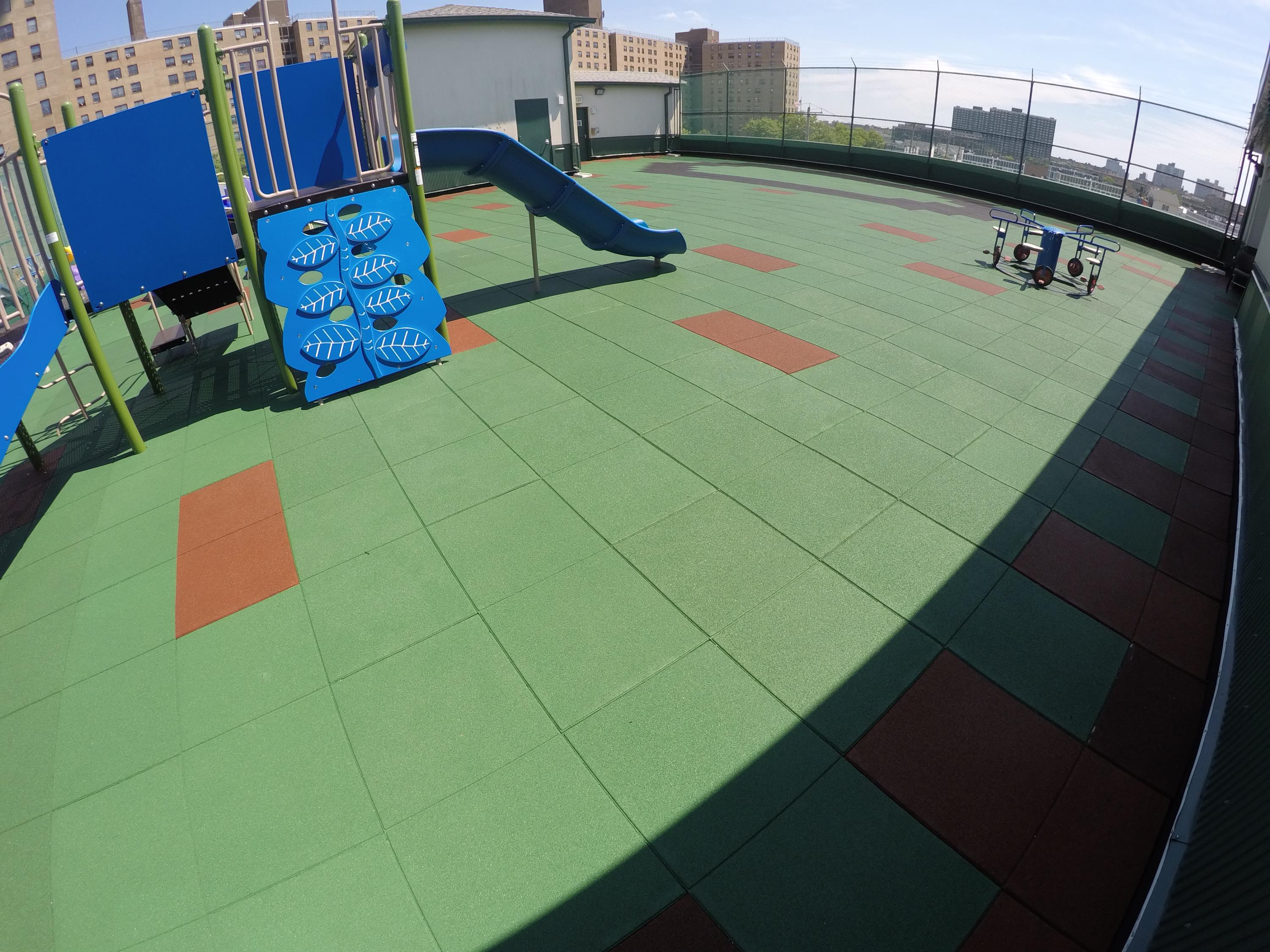 Recreational Rooftop Play Area using Custom blended tiles
