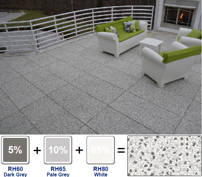 Residential rooftop patio using our custom blended TPV top tiles
