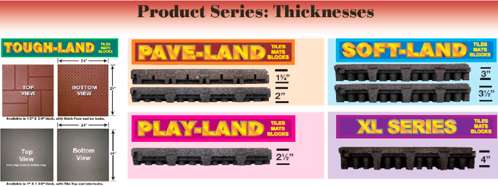 Unity Product Series: Tough-Land, Pave-land, Play-Land, Soft-Land, XL-Series