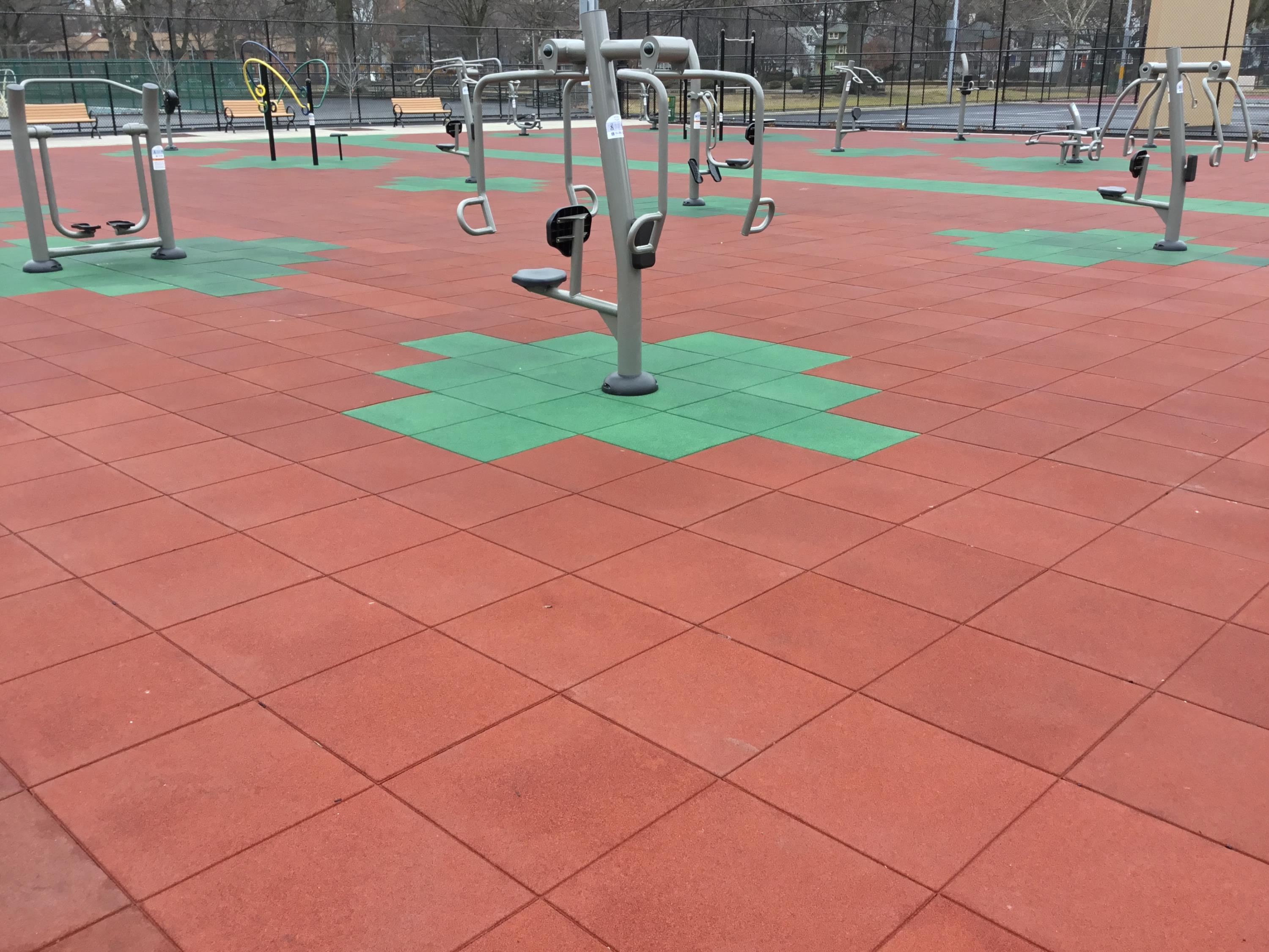 Pigmented Red and Green was selected for the exterior fitness area