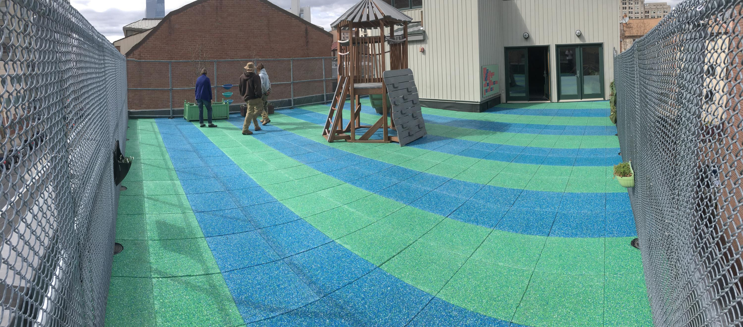 Rooftop Playground in Philly using Custom Blended TPV Rubber Tiles